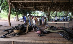 Firearms laid down by child soldiers associated with armed groups in South Sudan (file)