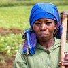 Une agricultrice dans son champ, au Sud-Kivu, en RDC.  Cette région a été ravagée par plus de deux décennies de déplacements forcés dus au conflit.
