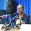 联合国刚果民主共和国代表凯塔在担任联合国负责维和行动的助理秘书长期间在南苏丹首都朱巴举行记者会。