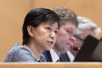 Izumi Nakamitsu, Haut-Représentante pour les affaires de désarmement de l'ONU, lors d'une réunion à Genève.