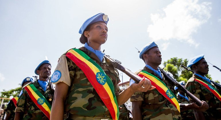 """Ethiopian peacekeepers during a ceremony to mark the International Day of United Nations Peacekeepers, in May 2016, in Juba, South Sudan. The event was held at the headquarters of the UN Mission in South Sudan under the theme """"Honouring Our Heroes."""""""
