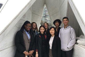 Algunos de los participantes de la videoconferencia de las Naciones Unidas sobre esclavitud en el Arca del retorno.