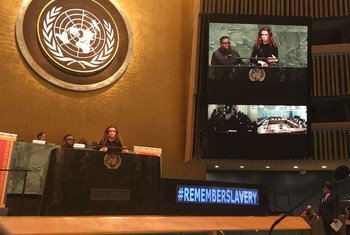 A student speaks at the commemorative event at the UN General Assembly.