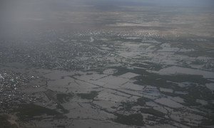 The town of Belet Weyne in the Hiraan region of Somalia as seen from the air submerged in flood waters from the Shabelle river on 30 April 2018. Belet Weyne is currently experiencing its worst flooding ever and over 150,000 people have been displaced.