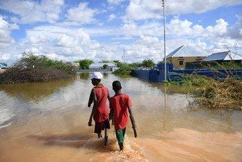 ولدان يسيران في منطقة سكنية غمرتها مياه الفيضانات في مدينة بيليت وين الصومالية والتي تعاني حاليا من فيضانات شديدة حيث تشرد الكثيرون.