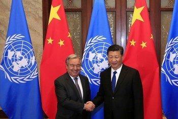 联合国秘书长古特雷斯在北京同中国国家主席习近平举行会晤。(档案照片)