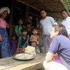 UN Deputy Emergency Relief Coordinator Ursula Mueller speaks to to displaced persons in Dar Pai Camp, Sittwe, Rakhine state, northern Myanmar.