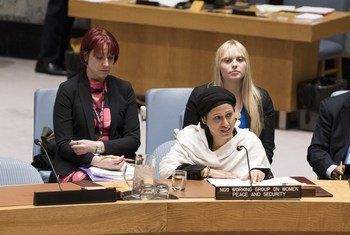 Razia Sultana, human rights activist and lawyer, addresses the Security Council's open debate on behalf of the NGO Working Group on Women, Peace and Security.
