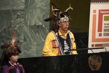 Tadodaho Sid Hill, Chief of the Onondaga Nation, delivers the ceremonial welcome at the opening of the seventeenth session of the UN Permanent Forum on Indigenous Issues.