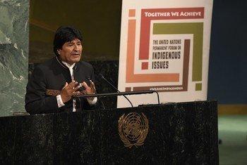 Evo Morales en la XVII Sesión del Foro Permanente para las Cuestiones Indígenas.