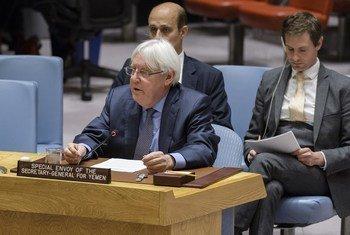 Martin Griffiths, Envoyé spécial du Secrétaire général pour le Yémen, lors d'une réunion du Conseil de sécurité (archives).