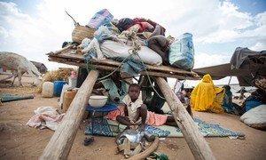Sud du Darfour : abrités sous une charrette, cette femme et son enfant comptent parmi les milliers de personnes qui ont fui la violence et ont rejoint le camp d'Al Salam pour les personnes déplacées (archive)