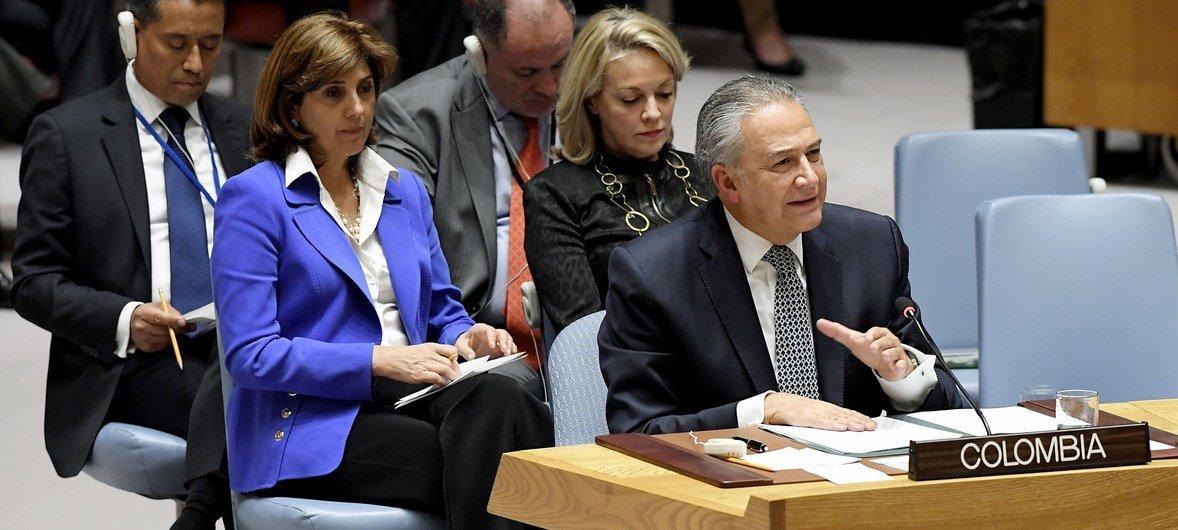Oscar Adolfo Naranjo Trujillo, vicepresidente de Colombia, interviene ante el Consejo de Seguridad