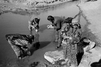 Pictured here is Dr. Luigi Mara (Italy) of the World Health Organization's anti-malaria project in Iraq, part of the WHO world-wide campaign to eradicate malaria everywhere.  Dr. Mara is examining stagnant water to find out the types of mosquito larvae harboured there.  May 1958, Kurdistan, Iraq.