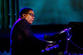 Multiple Grammy Award-winning jazz pianist and Goodwill Ambassador for the UN Educational, Scientific and Cultural Organization (UNESCO), Herbie Hancock, performs at the inaugural International Jazz Day Concert at UN Headquarters. (2012)