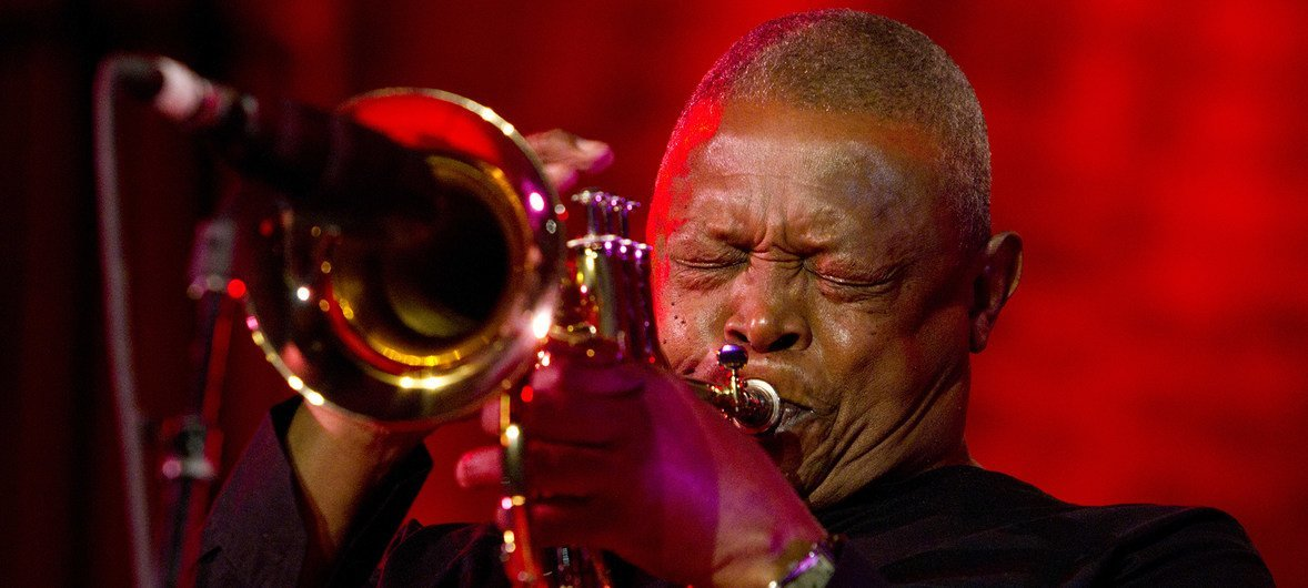 South African trumpeter Hugh Masekela performs at the inaugural International Jazz Day Concert at UN Headquarters in New York, on 30 April 2012.