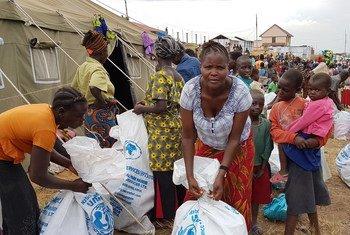 Des personnes déplacées récupèrent de l'aide humanitaire dans l'Ituri, au nord-est de la RDC (archives).