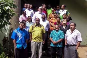 Participants at a workshop in Fiji who were trained on using the Sendai Framework Monitor tool.