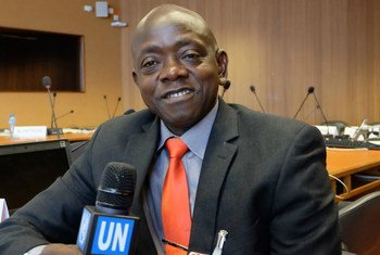 Liberian journalist Hasan Bility at the United Nations in Geneva.