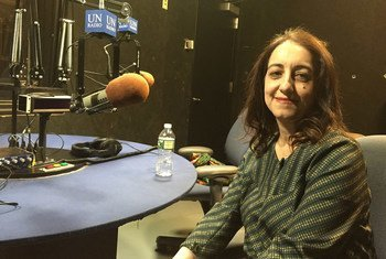 Farnaz Fassihi, a senior writer at The Wall Street Journal, at UN News studio in UN Headquarters in New York.