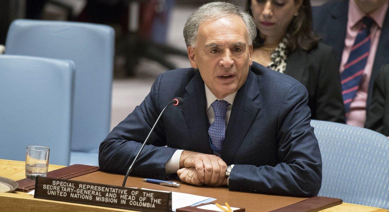 Jean Arnault, el jefe de la Misión de Verificación de la ONU en Colombia, se dirige al Consejo de Seguridad