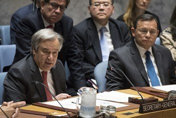 Secretary-General António Guterres addresses Security Council meeting on peacebuilding and sustaining peace.