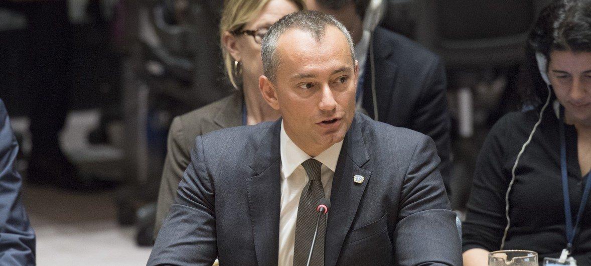 El coordinador especial de las Naciones Unidas para la paz en Oriente Medio, Nickolay Mladenov, informa al Consejo de Seguridad sobre la situación en la región.