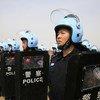 中国维和警察在中国维和警察培训中心接受联合国秘书长古特雷斯的检阅。