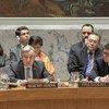 El Secretario General António Guterres (izq.) durante la reunión del Consejo de Seguridad sobre las amenazas a la paz y la seguridad internacionales en relación con la situación en Oriente Medio, concretamente en Siria.