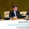 General Assembly President Miroslav Lajčák (centre) chairs high-level meeting on peacebuilding and sustaining peace. He is flanked by Secretary-General Guterres (left) and Catherine Pollard, USG for General Assembly Affairs and Conference Management.