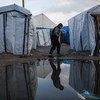 Un garçon traverse un camp de migrants à Calais, dans le nord de la France. Selon les estimations, environ 900 migrants et demandeurs d'asile sont hébergés dans la région, la plupart sans toilettes.