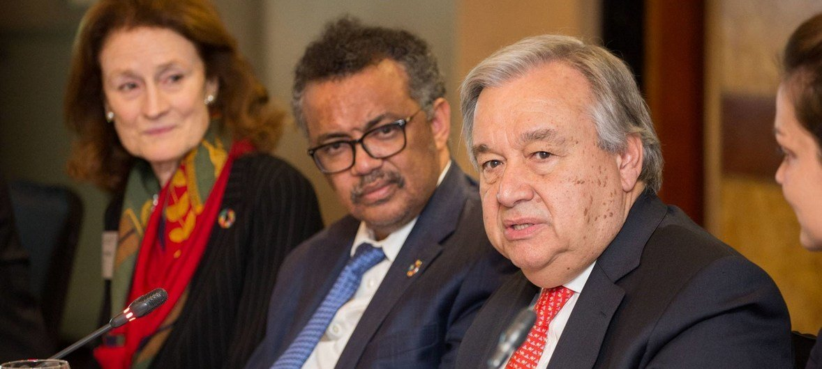 UN Secretary-General António Guterres delivers his opening remarks to a round-table discussion on mental health in London on 2 May 2018.