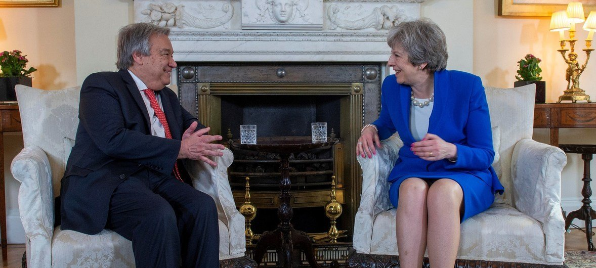 UN Secretary-General António Guterres meets with United Kingdom Prime Minister Theresa May in London on 2 May 2018.