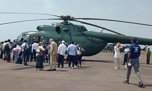 The UN Security Council delegation, on mission to Myanmar, prepares to board a helicopter to fly to Maungdaw from Sittwe airport.