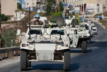 UNIFIL peacekeeping troops patrol along the Blue Line near the town of El Adeisse in southern Lebanon. (file)