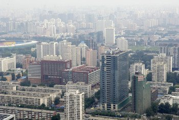 A photograph of the city of Beijing. According to the ESCAP Economic and Social Survey of Asia and the Pacific, China is estimated to register a 6.9 per cent real GDP growth in 2017.