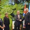 ECLAC Executive Secretary Alicia Bárcena, third from left, and UN Secretary-General António Guterres meet with Cuban President Miguel Díaz-Canel, in Havana.