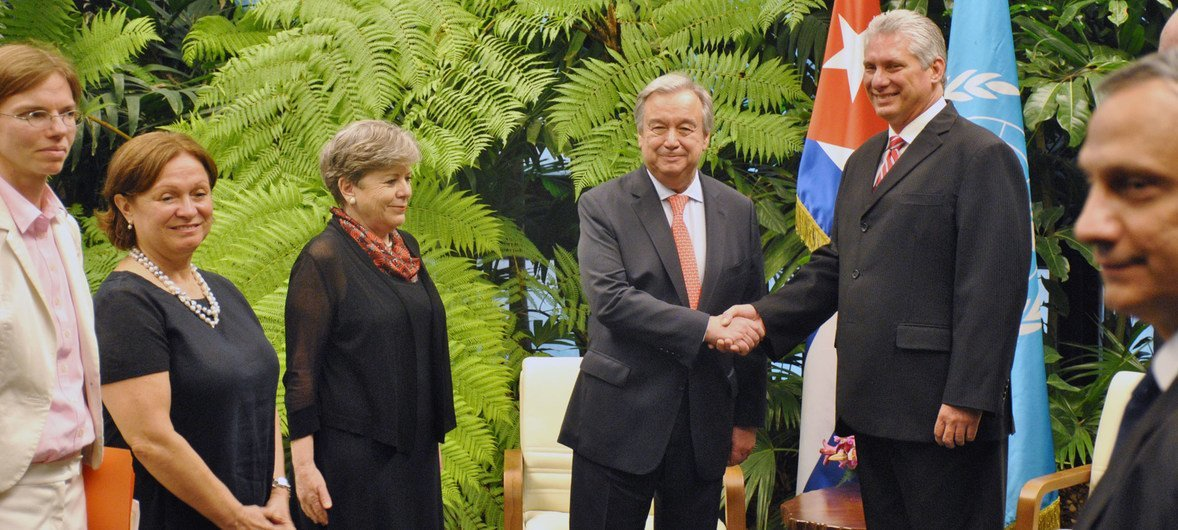 O chefe da ONU e o presidente de Cuba conversaram sobre paz internacional, mudança climática e Agenda 2030.