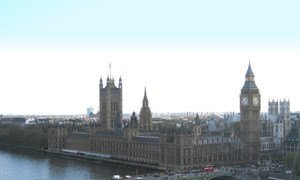 The Palace of Westminster and central London, as seen from across the River Thames.