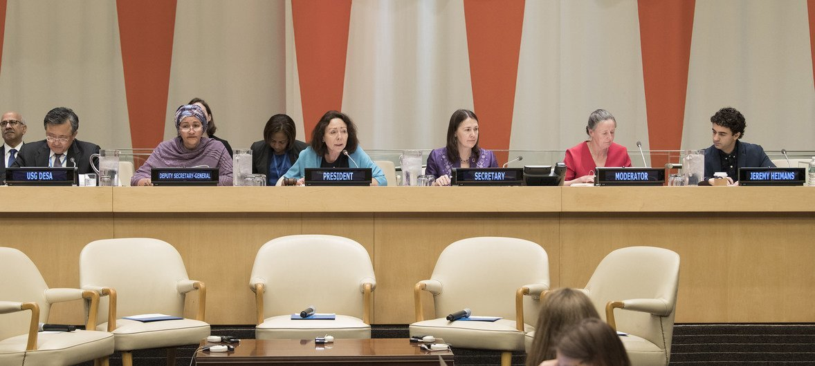 Marie Chatardova, the President of the Economic and Social Council, chairs the Development Cooperation Forum. To her right is Deputy Secretary-General Amina J. Mohammed.