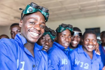 Participants at an International Organization for Migration (IOM) training on welding, mechanics, masonry and tailoring skills in Rwanda. According to a UN report, remittances accounted for 13 per cent of the country's GDP in 2012 figures.