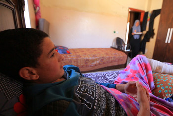 A  14-year-old boy who was reportedly shot and injured in both legs on 30 March 2018, in Gaza, the day that mass protests began at the border with Israel.
