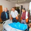 Jamie McGoldrick (second left) the UN Deputy Special Coordinator for the Middle East Peace Process visits a patient at the Al Quds Hospital in Gaza City.