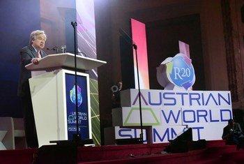 El Secretario General de las Naciones Unidas en la Cumbre Mundial Austriaca.