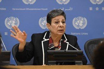 Hanan Ashrawi, Palestine Liberation Organization (PLO) Executive Committee Member, speaks to journalists at UN Headquarters.