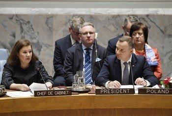 Президент Польши Анджей Дуда на заседании Совета Безопасности ООН, посвященном соблюдению норм международного права.