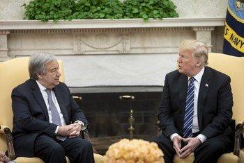 El Secretario General de la ONU, António Guterres, y el presidente de los Estados Unidos, Donald J. Trump, se reúnen en la Casa Blanca, en Washington D.C.