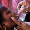 在考克斯巴扎地区的一家临时免疫中心,一名罗兴亚难民儿童正在接受口服脊髓灰质炎疫苗接种。