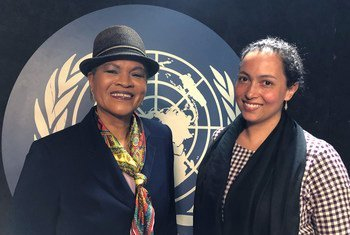 Missouri Sherman-Peter, the Permanent Observer for the Caribbean Community (left), and Christian Crouch, Associate Professor of History and Director of American Studies at Bard College (right), participated in a conference on 27 April 2018 with international students as part of the UN Remember Slavery Programme.