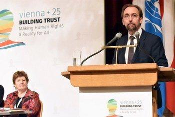 A Vienne, Zeid Ra'ad Al Hussein, le Haut-Commissaire des Nations Unies aux droits de l'homme, lors d'une cérémonie marquant le 25e anniversaire de la Déclaration de Vienne.